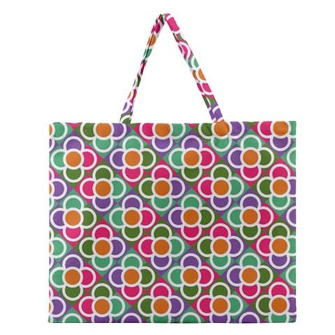 Modernist Floral Tiles Zipper Large Tote Bag