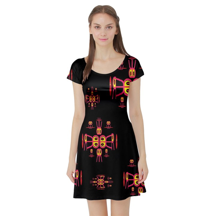 Alphabet Shirtjhjervbretili Short Sleeve Skater Dress