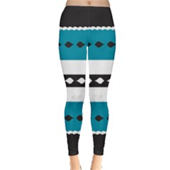 Turquoise, Black And White Bands Leggings