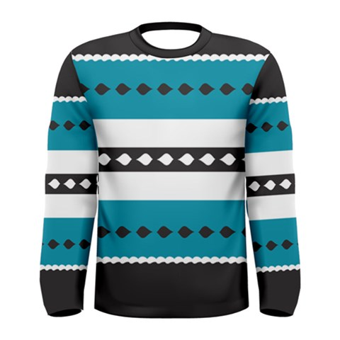 Turquoise, Black And White Bands Men s Long Sleeve Tee
