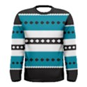 Turquoise, Black And White Bands Men s Long Sleeve Tee View1