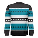 Turquoise, Black And White Bands Men s Long Sleeve Tee View2