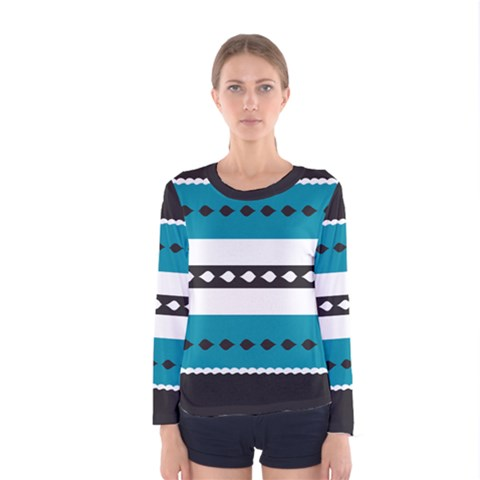Turquoise, Black And White Bands Women s Long Sleeve Tee
