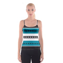 Turquoise, Black And White Bands Spaghetti Strap Top