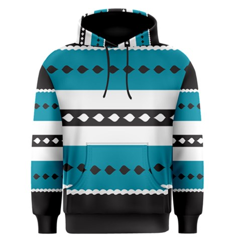 Turquoise, Black And White Bands Men s Pullover Hoodie
