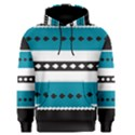 Turquoise, Black And White Bands Men s Pullover Hoodie View1