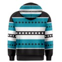Turquoise, Black And White Bands Men s Pullover Hoodie View2