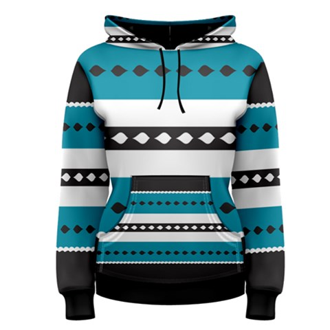 Turquoise, Black And White Bands Women s Pullover Hoodie