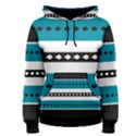 Turquoise, Black And White Bands Women s Pullover Hoodie View1