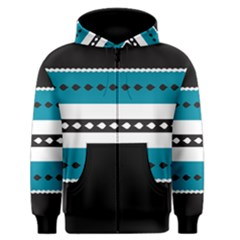 Turquoise, Black And White Bands Men s Zipper Hoodie