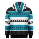 Turquoise, Black And White Bands Men s Zipper Hoodie View2