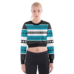 Turquoise, Black And White Bands Women s Cropped Sweatshirt