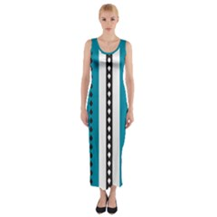 Turquoise, Black And White Bands Fitted Maxi Dress