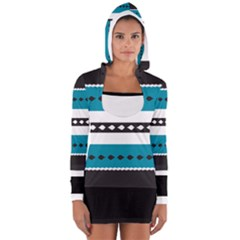 Turquoise, Black And White Bands Women s Long Sleeve Hooded T-shirt