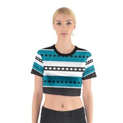 Turquoise, Black And White Bands Cotton Crop Top