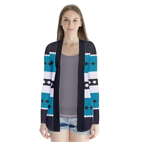 Turquoise, Black And White Bands Drape Collar Cardigan