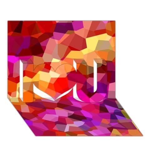Geometric Fall Pattern I Love You 3D Greeting Card (7x5)