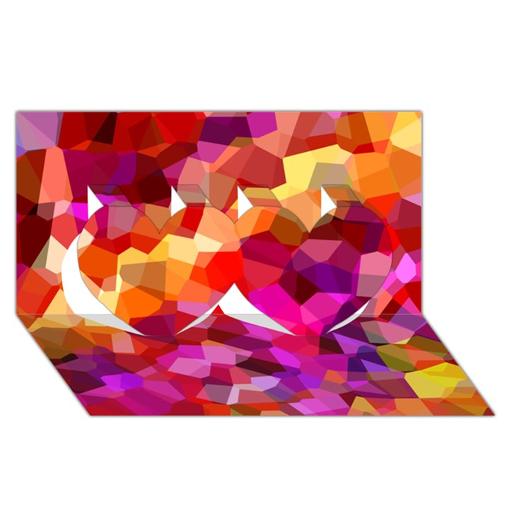 Geometric Fall Pattern Twin Hearts 3D Greeting Card (8x4)