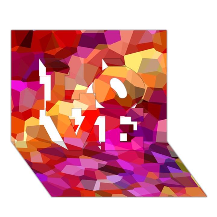 Geometric Fall Pattern LOVE 3D Greeting Card (7x5)