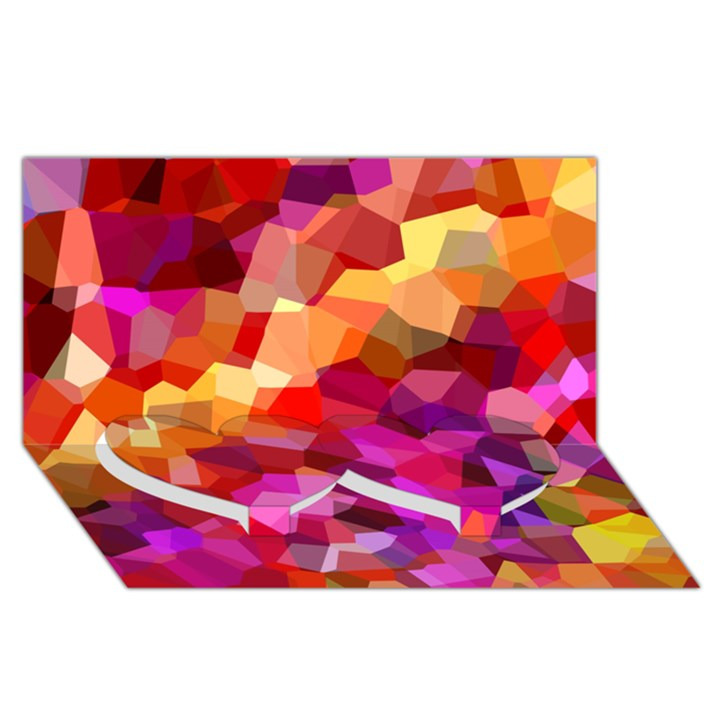 Geometric Fall Pattern Twin Heart Bottom 3D Greeting Card (8x4)