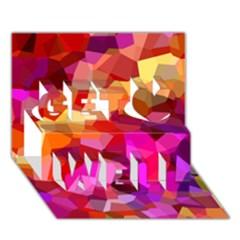Geometric Fall Pattern Get Well 3D Greeting Card (7x5)