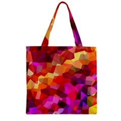 Geometric Fall Pattern Zipper Grocery Tote Bag