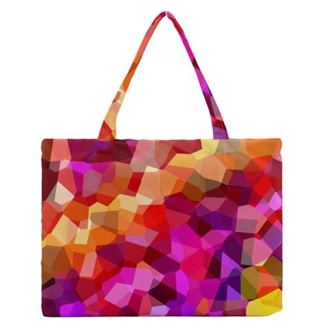 Geometric Fall Pattern Medium Zipper Tote Bag