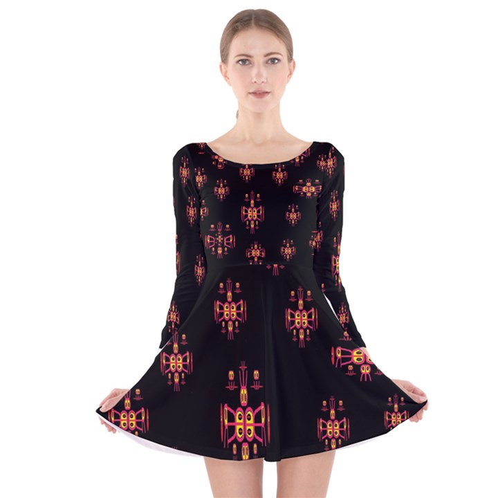 Alphabet Shirtjhjervbretilihhj Long Sleeve Velvet Skater Dress