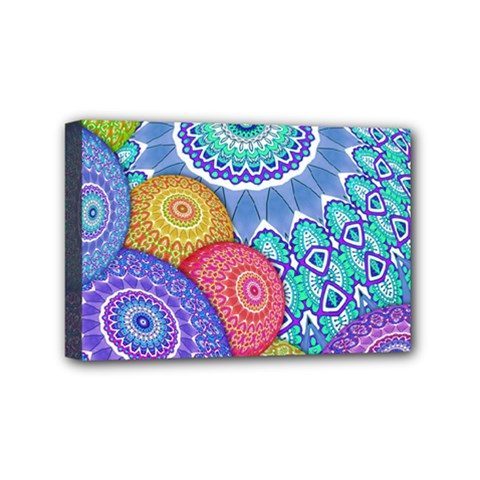 India Ornaments Mandala Balls Multicolored Mini Canvas 6  X 4