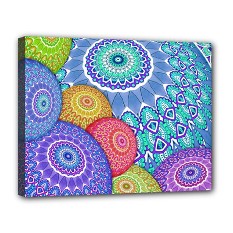 India Ornaments Mandala Balls Multicolored Canvas 14  X 11