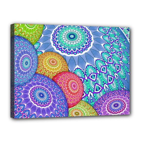 India Ornaments Mandala Balls Multicolored Canvas 16  x 12