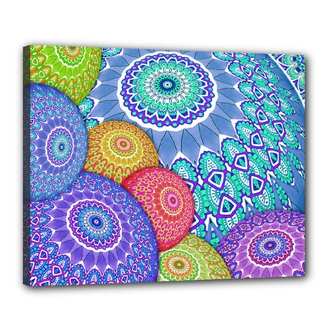 India Ornaments Mandala Balls Multicolored Canvas 20  X 16