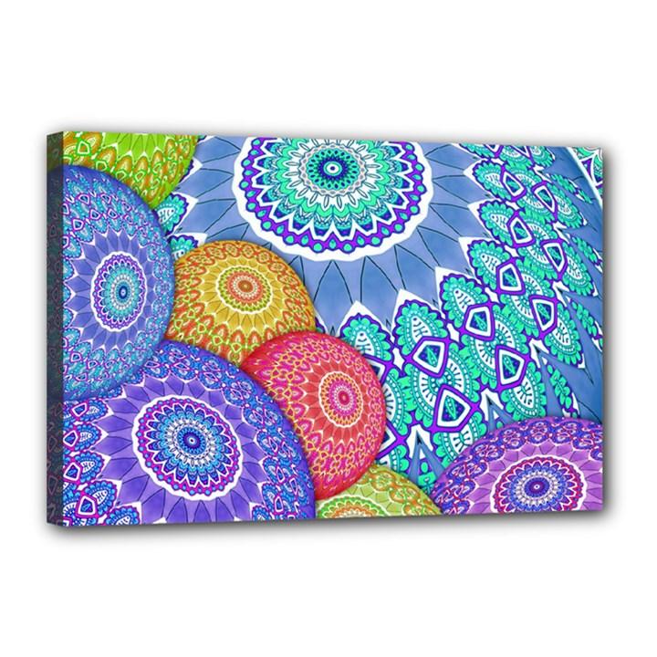 India Ornaments Mandala Balls Multicolored Canvas 18  x 12