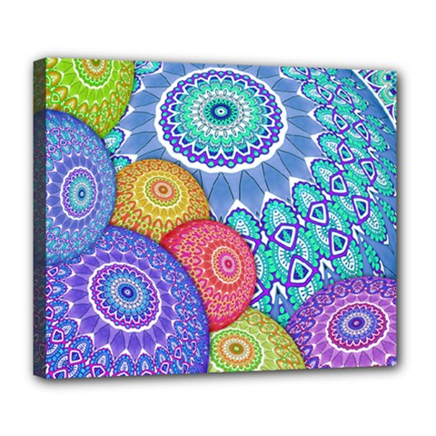 India Ornaments Mandala Balls Multicolored Deluxe Canvas 24  X 20
