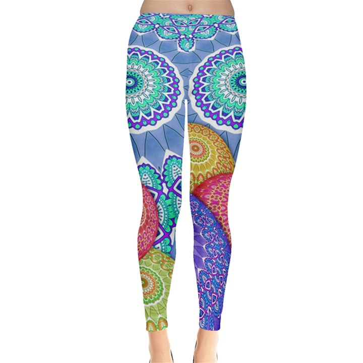 India Ornaments Mandala Balls Multicolored Leggings