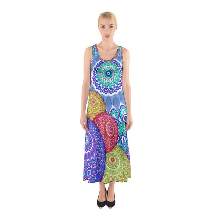 India Ornaments Mandala Balls Multicolored Sleeveless Maxi Dress