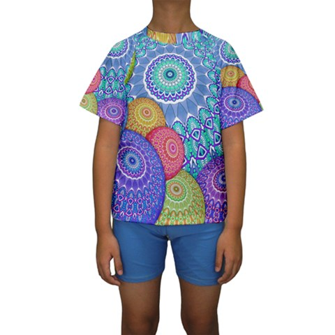 India Ornaments Mandala Balls Multicolored Kids  Short Sleeve Swimwear
