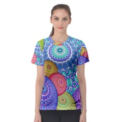 India Ornaments Mandala Balls Multicolored Women s Sport Mesh Tee