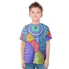 India Ornaments Mandala Balls Multicolored Kids  Cotton Tee