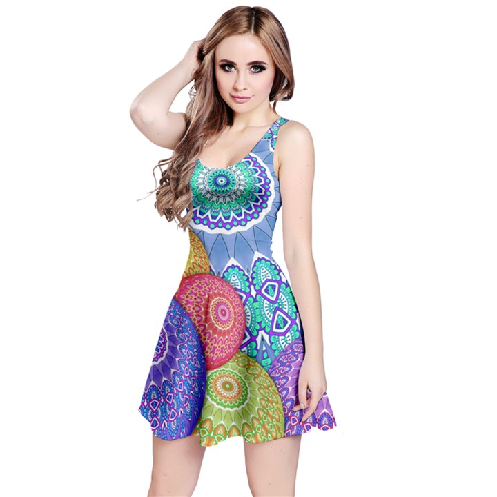 India Ornaments Mandala Balls Multicolored Reversible Sleeveless Dress