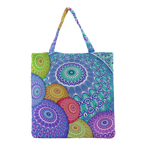 India Ornaments Mandala Balls Multicolored Grocery Tote Bag