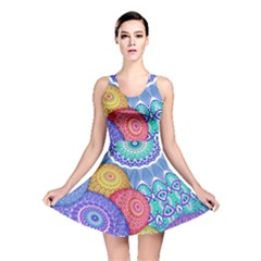 India Ornaments Mandala Balls Multicolored Reversible Skater Dress