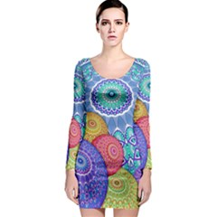 India Ornaments Mandala Balls Multicolored Long Sleeve Bodycon Dress