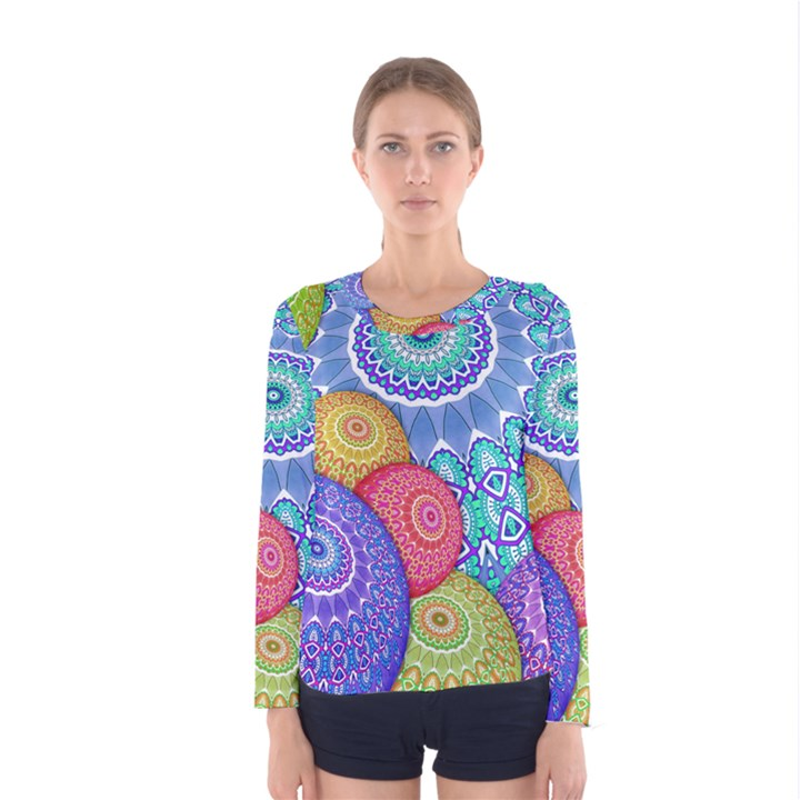 India Ornaments Mandala Balls Multicolored Women s Long Sleeve Tee