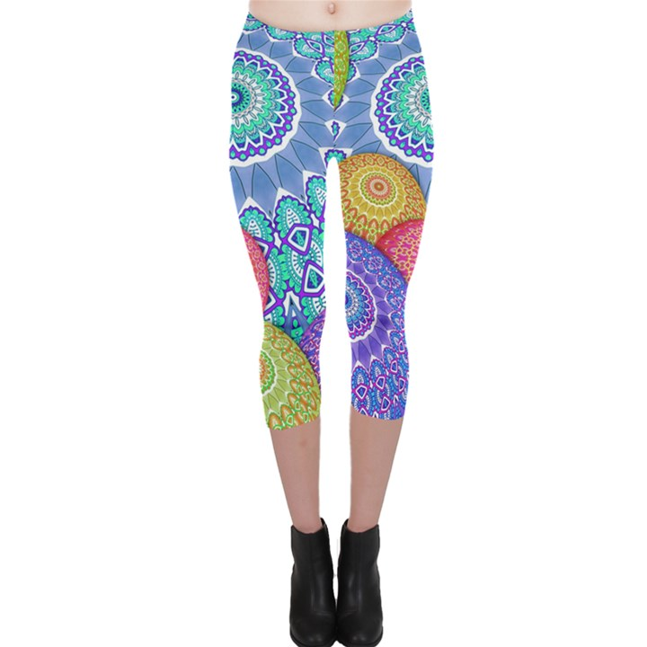 India Ornaments Mandala Balls Multicolored Capri Leggings