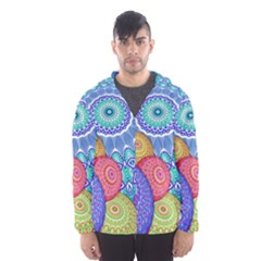 India Ornaments Mandala Balls Multicolored Hooded Wind Breaker (Men)
