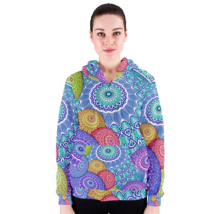 India Ornaments Mandala Balls Multicolored Women s Zipper Hoodie