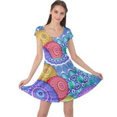 India Ornaments Mandala Balls Multicolored Cap Sleeve Dresses