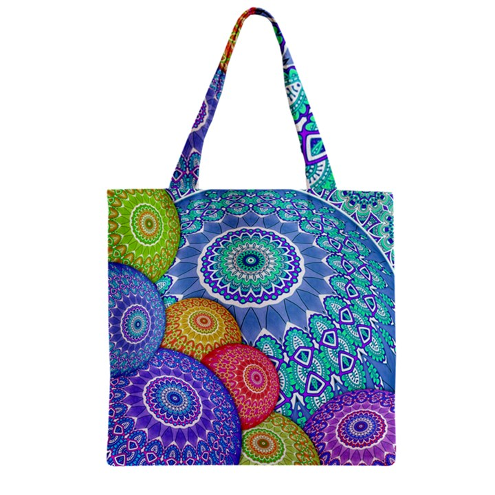 India Ornaments Mandala Balls Multicolored Zipper Grocery Tote Bag