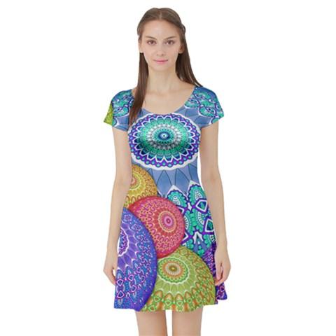 India Ornaments Mandala Balls Multicolored Short Sleeve Skater Dress